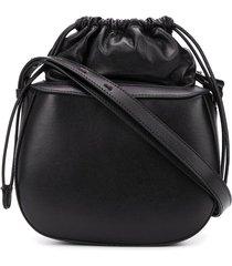 stée pouch top leather shoulder bag - black