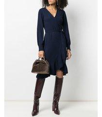dvf diane von furstenberg cashmere-wool blend fine knit wrap dress -