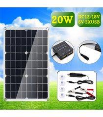 panel solar monocristalino 20w de doble puerto usb cargador de sun-power dc clip + carga del coche 4pcs + lechón para iluminación exterior del coche del barco dc12-18v caravana - negro