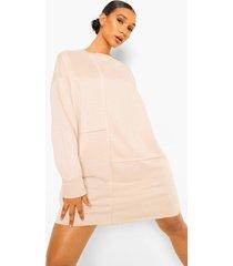 oversized sweatshirt jurk met naaddetail, ecru