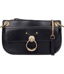 chloé tess shoulder bag in black leather