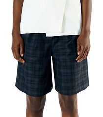 tibi women's marvel wool-blend plaid suiting shorts - blue multi - size 8