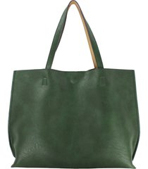 street level reversible faux leather tote & wristlet - green