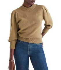 women's madewell eaton dotted puff sleeve cotton & merino yarn pullover sweater, size xx-small - green