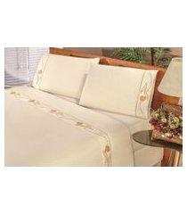 jogo de cama bia enxovais lençol solteiro imperial 03 peças  palha