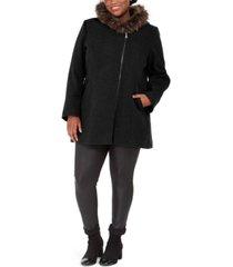 maralyn & me juniors' plus size asymmetrical-zip faux-fur-trim hooded coat