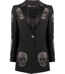 philipp plein rhinestone-embellished skull blazer - black