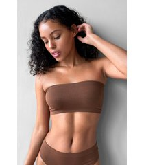 womens seamless nights bandeau bralette - chestnut