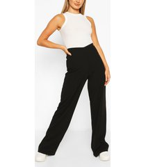basic crépe broek met wijde pijpen en hoge taille, zwart