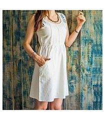 cotton blend dress, 'ivory glamour' (india)