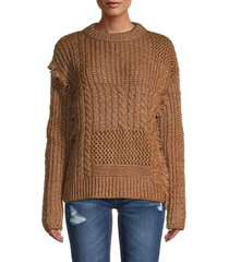 current air women's fringe-detailed multi-knit sweater - mustard - size l