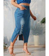 ripped frayed hem asymmetrical plus size denim skirt
