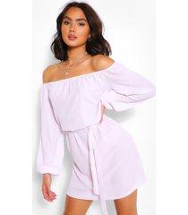 off shoulder belted shift dress, lilac