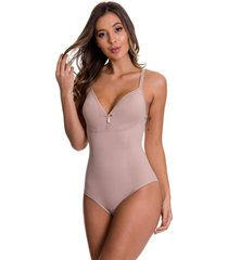 body modelador estilo sedutor nadador sem bojo bege - cl416 - bege - feminino - dafiti