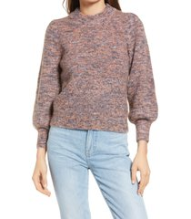 women's madewell eaton space dye puff sleeve sweater, size x-large - purple