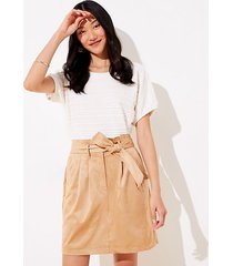 loft faux suede tie waist pocket skirt