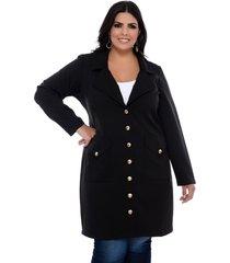 casaco trench coat forma rara preto com botões dourados