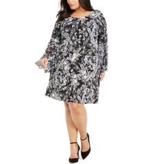 msk plus size bell-sleeve sheath dress