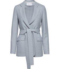 women belted blazer light pressed wool blazers casual blazers blå harris wharf london