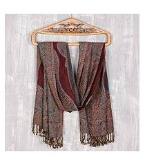 jamawar wool shawl, 'colorful paisleys' (india)