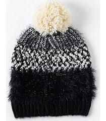 bella multi pattern pom beanie - black/white