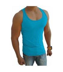 camiseta regata masculina tank 03 azul turquesa