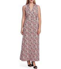 women's vince camuto peony fields floral maxi dress, size large - coral