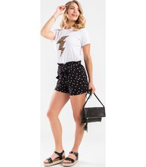 tessa polka dot paperbag shorts - black