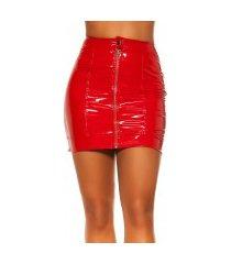 sexy latex look rok met rits rood