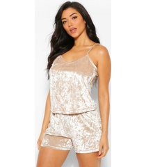 crushed velvet cami and pyjama short set, champagne