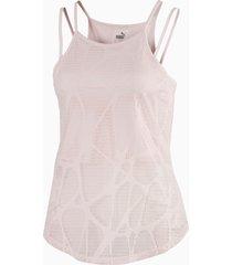 studio strappy lace trainingstanktop voor dames, roze, maat m | puma
