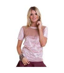 camiseta manola de veludo tule feminina