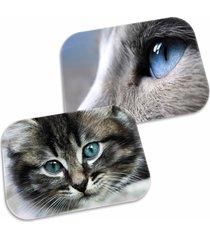 kit 2 tapetes decorativo wevans s gatos 40cm x 60cm cinza