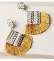 bohemian woven fringe drop earrings