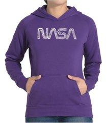 la pop art women's word art hooded sweatshirt -worm nasa