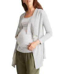 women's ingrid & isabel drape front maternity cardigan, size medium - grey