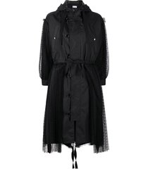 red valentino tulle-panel hooded parka coat - black