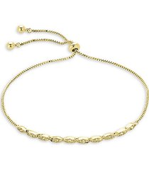 14k goldplated & crystal slider bolo bracelet