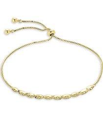 14k goldplated & crystal slider bolo bracelet