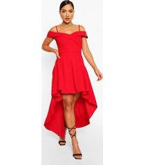 skater jurk met bandjes, losvallende zoom en hartvormige hals, rood