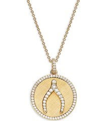 adriana orsini women's cubic zirconia wishbone pendant necklace