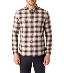 men's 7 diamonds parker trim fit check button-up shirt, size small - blue