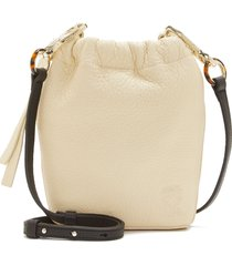 vince camuto drawstring leather phone pouch - ivory