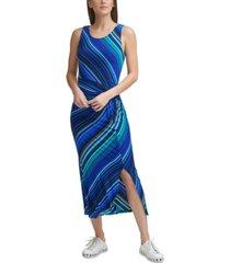 dkny printed side-slit dress
