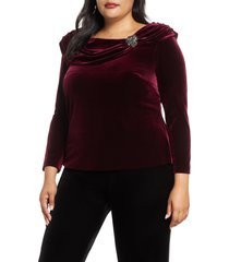 plus size women's alex evenings ruched collar long sleeve velvet top
