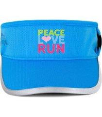 viseira corrida em microfibra com velcro regulável azul -  peace love run azul
