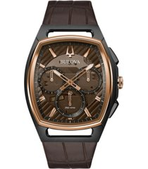 bulova men's chronograph curv brown leather strap watch 41.7mm