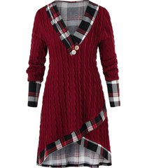 plus size plaid cable knit tulip sweater