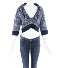 chanel cashmere knit cropped sweater blue/geometric sz: s