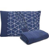 jogo de cama 3pçs queen lynel rustic malha azul